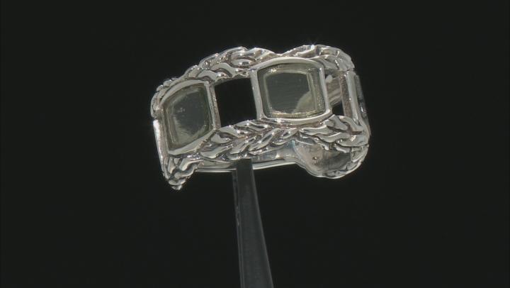 Mens Moldavite Sterling Silver Band Ring