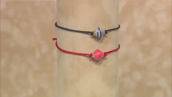 Akola Ruby Red and Zebra Adjustable Bracelet Set of 2 Card