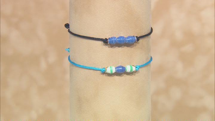 Akola Royal Blue Bicone Adjustable Bracelet Set of 2 Card