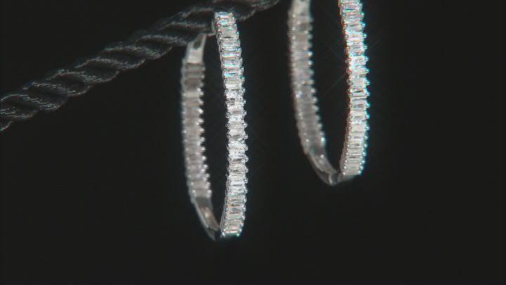 White Diamond Rhodium Over Sterling Silver inside Outside Hoop Earrings 1.00ctw