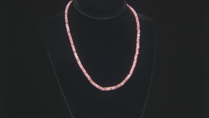 Pink rhodochrosite strand sterling silver necklace