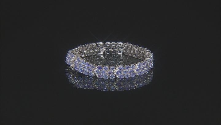Blue tanzanite rhodium over sterling silver bracelet 15.47ctw