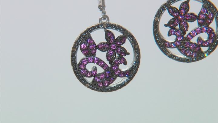 Purple Rhodolite Rhodium Over Sterling Silver Earrings .87ctw