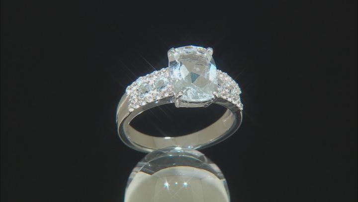 Blue aquamarine rhodium over silver ring 2.83ctw