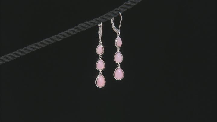 Pink Peruvian opal rhodium over silver earrings