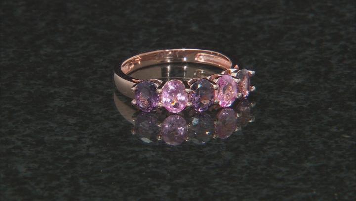 Multi-Color Spinel 18k Rose Gold Over Sterling Silver Ring 1.53ctw