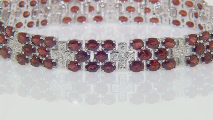 Red garnet rhodium over sterling silver bracelet 18.12ctw