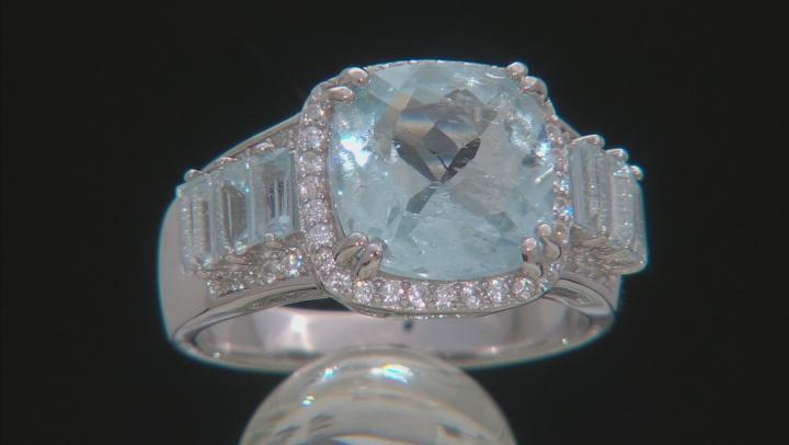 Blue aquamarine rhodium over silver ring 4.24ctw