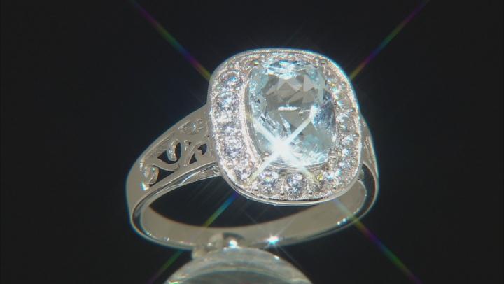 Blue aquamarine rhodium over silver ring 2.47ctw