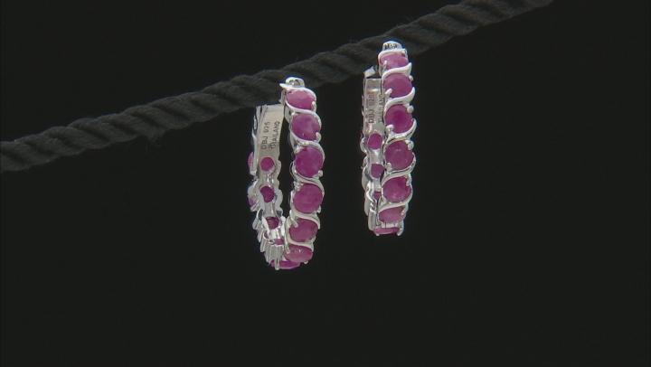 Red ruby rhodium over silver hoop earrings 6.60ctw