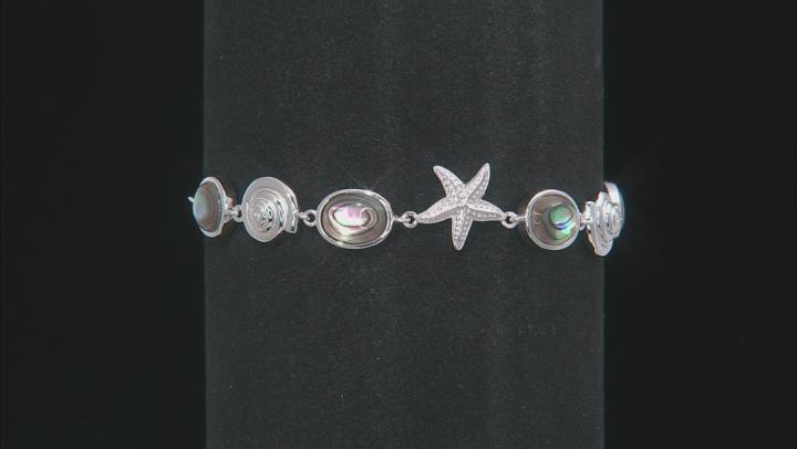 Multi-color abalone shell rhodium over silver bolo bracelet