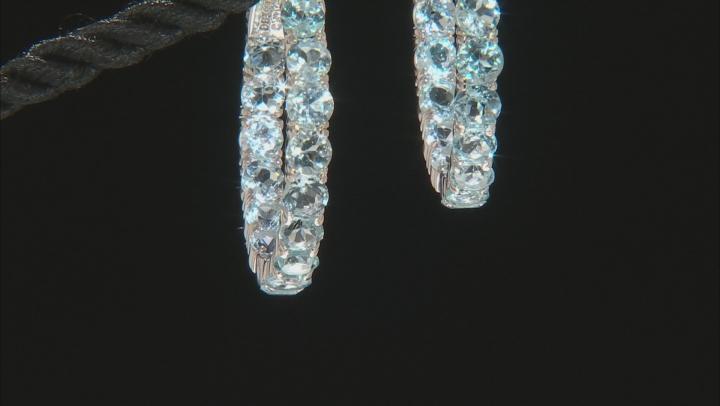 Sky Blue Topaz Rhodium Over Sterling Silver Hoop Earrings 10.04ctw