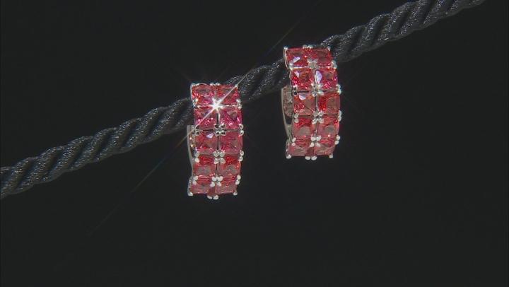 Orange lab padparadscha sapphire rhodium over silver hoop earrings 6.12ctw