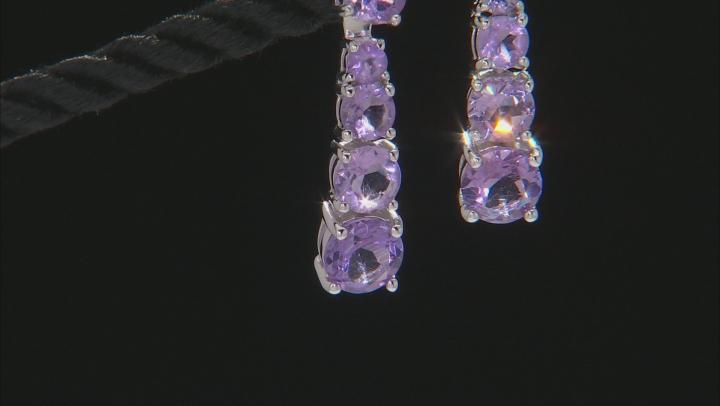 Purple Amethyst Rhodium Over Silver Earrings 4.00ctw