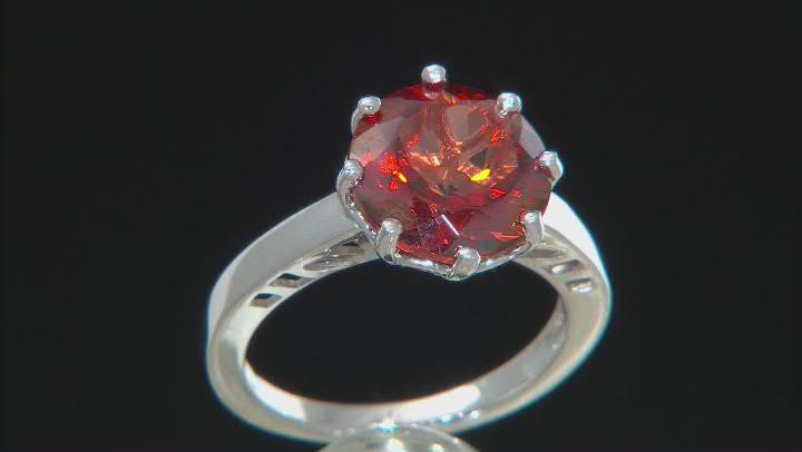 Red Labradorite Rhodium Over Sterling Silver Ring 3.56ct