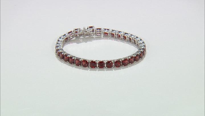 Red garnet rhodium over silver bracelet 25.17ctw