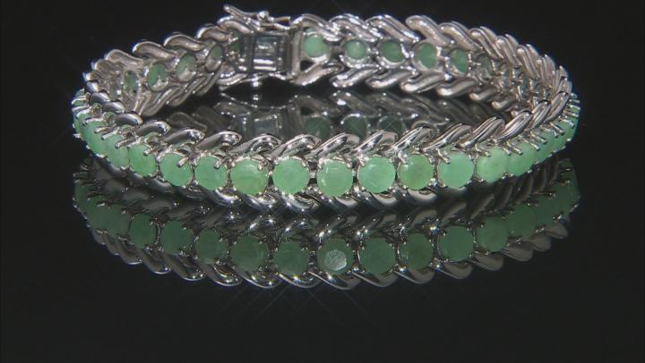 Green emerald rhodium over sterling silver bracelet 13.60ctw