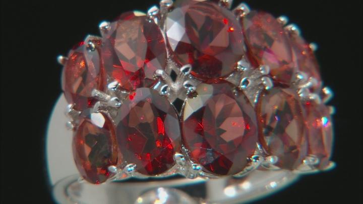 Red Labradorite Rhodium Over Silver Ring 5.51ctw