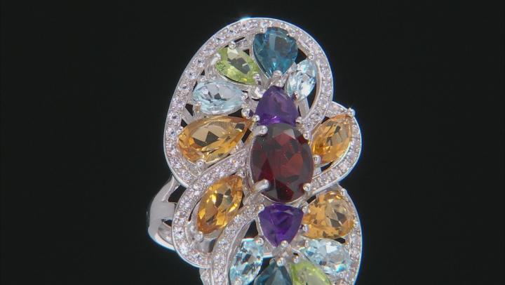 Multi-Gemstone Rhodium Over Silver Ring 8.72ctw