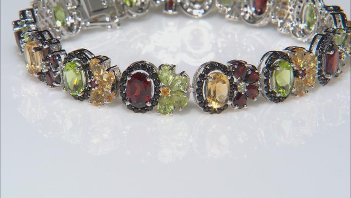 Mixed Multi-Gemstone Rhodium Over Silver Bracelet 20.76ctw
