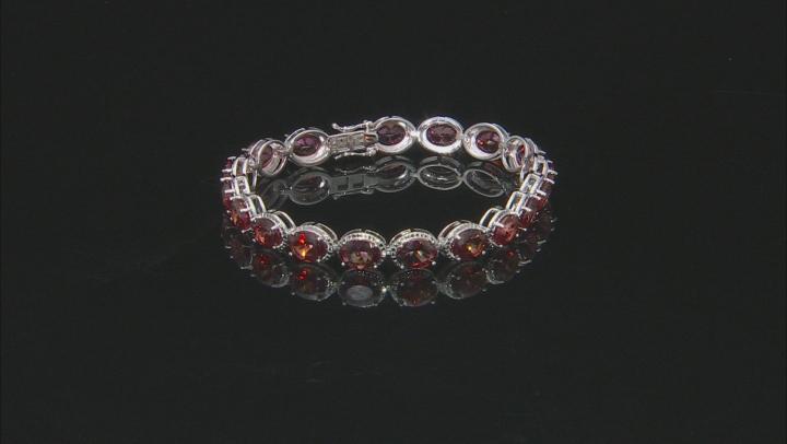 Red Labradorite Rhodium Over Silver Bracelet 15.90ctw
