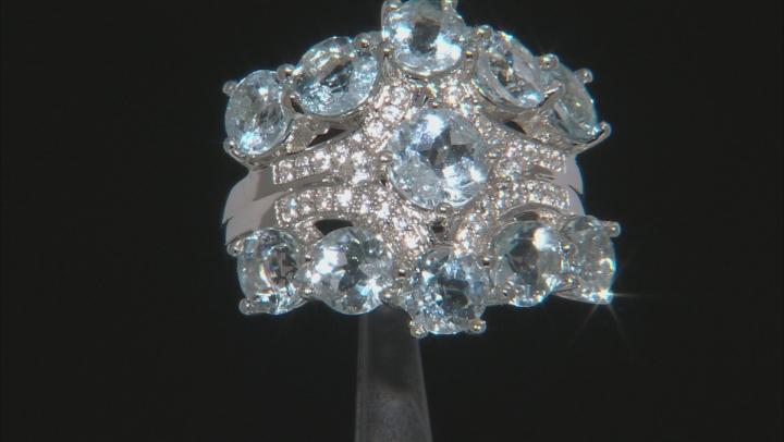 Blue aquamarine rhodium over sterling silver ring 4.27ctw