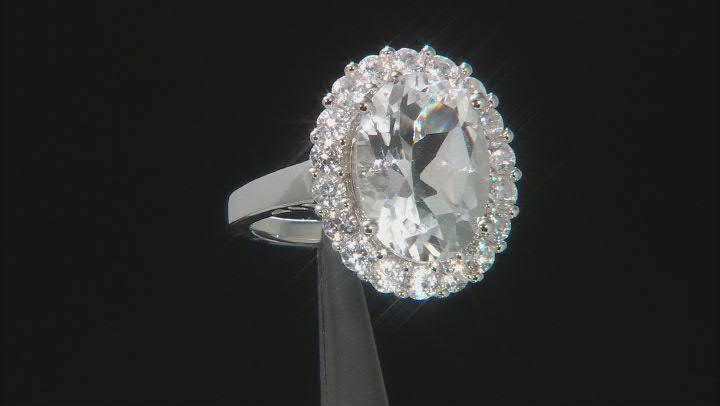 White crystal quartz rhodium over silver ring 6.41ctw
