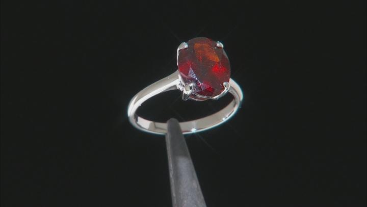 10k White Gold Oval Hessonite Garnet Solitaire Ring