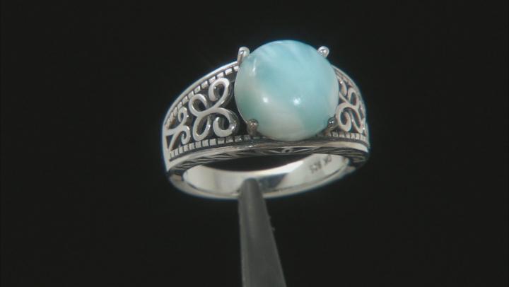 Blue  Larimar Rhodium Over Silver Solitaire Ring