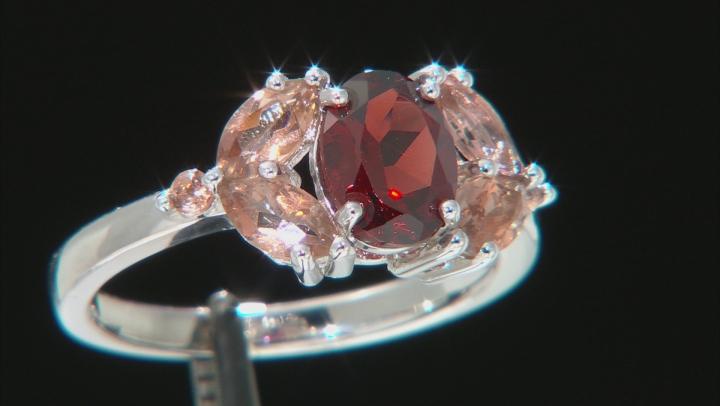 Red Garnet Rhodium Over Sterling Silver Ring 2.10ctw