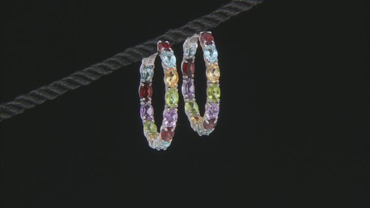 Multi-Color Gemstone Rhodium Over Silver Earrings 10.88ctw