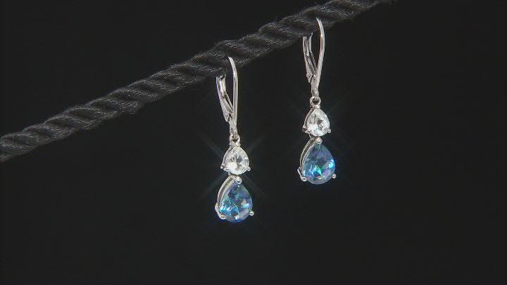 Blue Petalite Rhodium Over Sterling Silver Dangle Earrings 1.97ctw