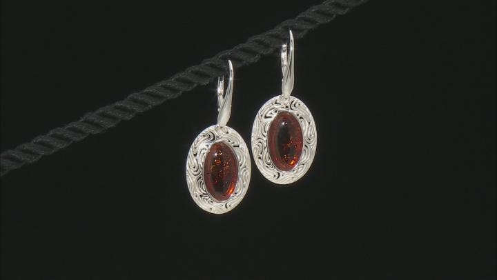 Orange Amber Sterling Silver Solitaire Earrings