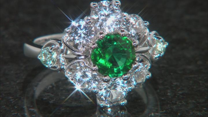 Lab Created Emerald Rhodium Over Silver Ring 3.78ctw