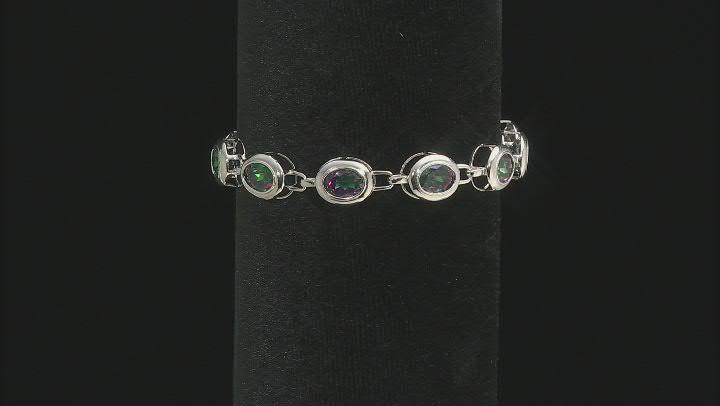 Oval Multi-Color Quartz Rhodium Over Sterling Silver Tennis Bracelet 16.44ctw
