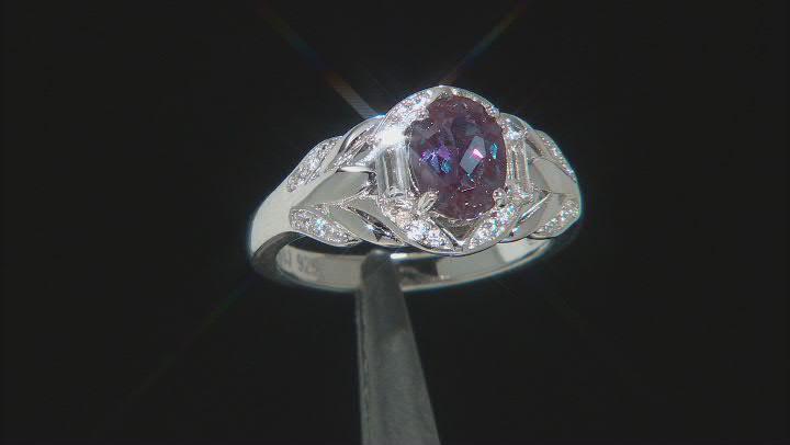 Blue Lab Created Alexandrite Rhodium Over Silver Ring 1.64ctw