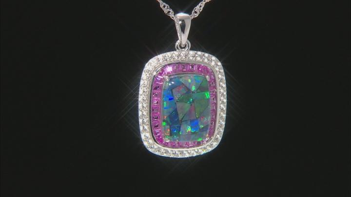 Cushion Mosaic Opal Triplet  Rhodium Over Silver Pendant Chain 1.76ctw