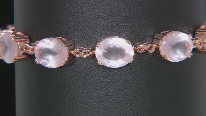 Rose Quartz 18k Rose Gold Over Sterling Silver Bracelet 25.42ctw
