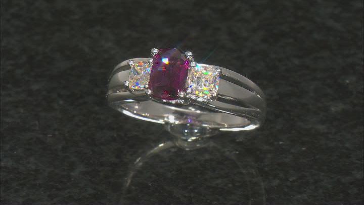 Purple Rhodolite Rhodium Over Silver Ring 1.75ctw