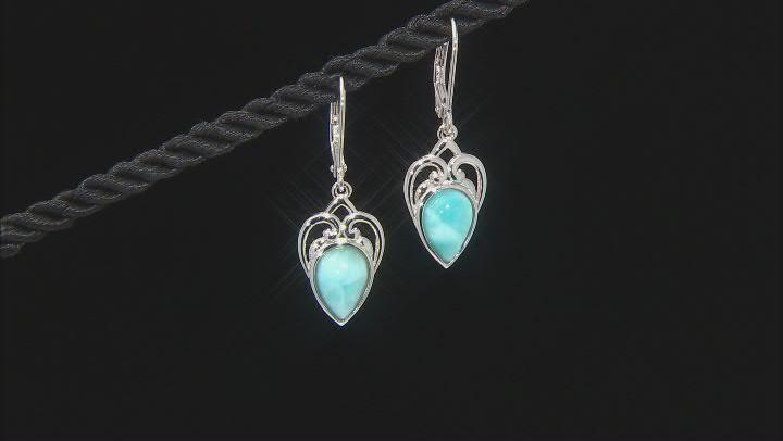 Blue Larimar Rhodium Over Sterling Silver Dangle Earrings