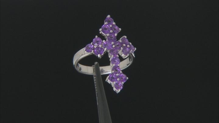 Purple Amethyst Rhodium Over Sterling Silver Cross Ring 1.53ctw