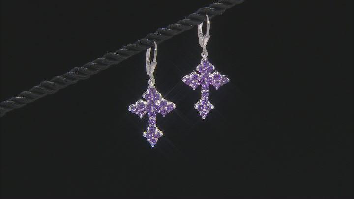 Purple Amethyst Rhodium Over Sterling Silver Cross Dangle Earrings 1.83ctw