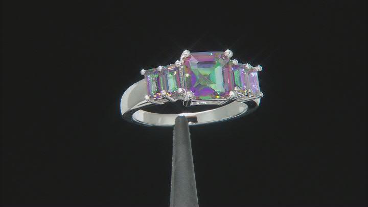 Multicolor Quartz Rhodium Over Sterling Silver Ring 3.15ctw