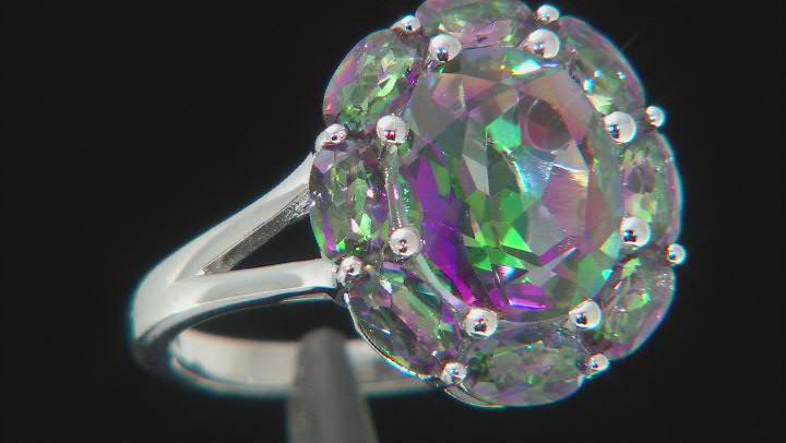 Multi-color Quartz Rhodium Over Sterling Silver Ring 4.41ctw