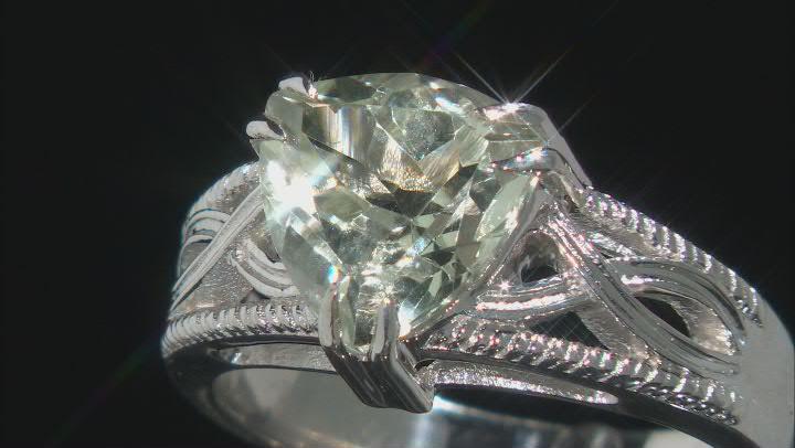Green Prasiolite Rhodium Over Sterling Silver Ring 2.55ct