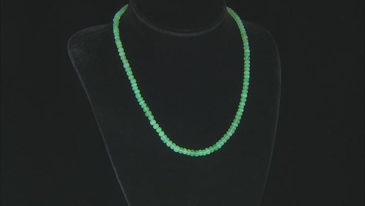Green Chrysoprase Bead Strand Silver Necklace