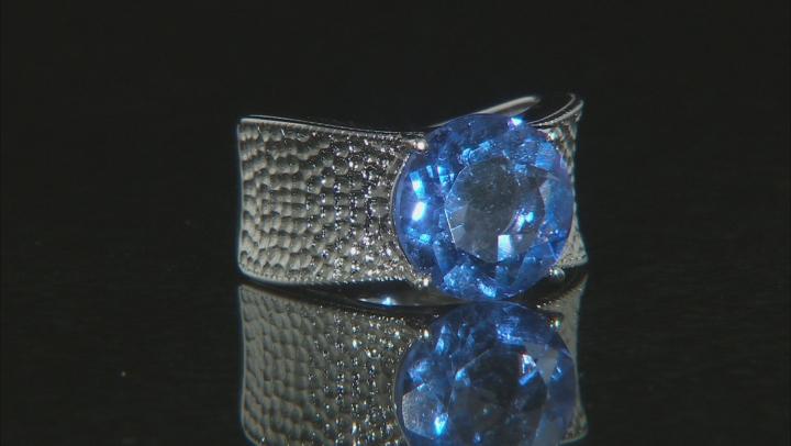 Blue Fluorite Rhodium Over Silver Ring 7.01ct