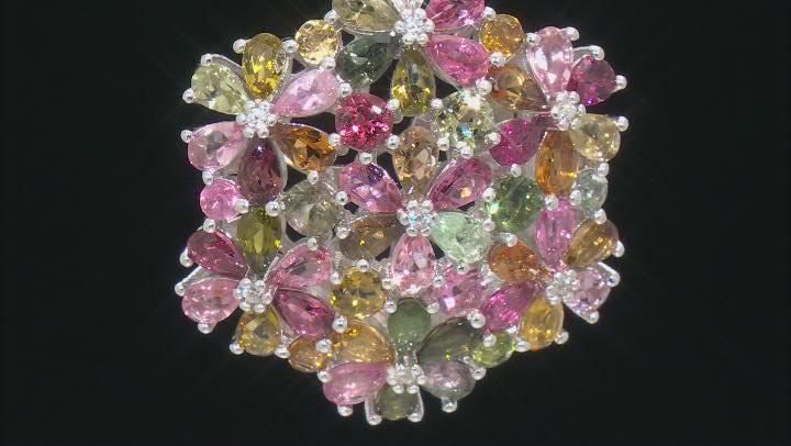 Multicolor Tourmaline Rhodium Over Silver Pendant with chain 9.08ctw