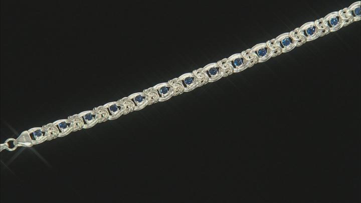 Blue Cubic Zirconia Sterling Silver Byzantine Link Bracelet 15.30ctw