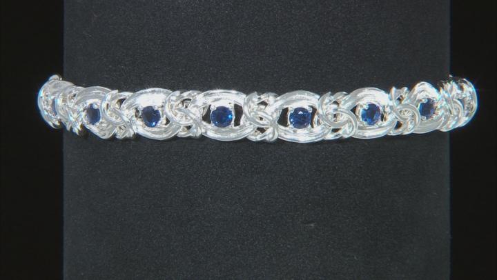 Blue Cubic Zirconia Byzantine Link Sterling Silver Bracelet. 16.20ctw